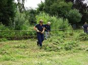 Paula, Pete & Michelle cutting, raking and clearing of cuttings at Mulbarton Common.